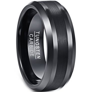 *COI Black Tungsten Carbide Beveled Edges Ring - TG4342BB