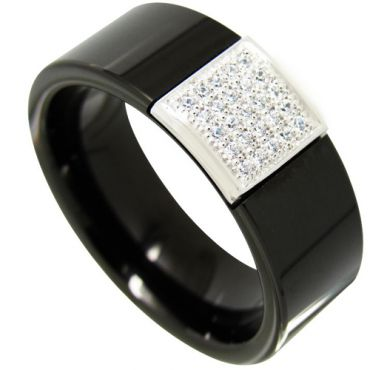 COI Black Tungsten Carbide With Pave Cubic Zirconia-4353
