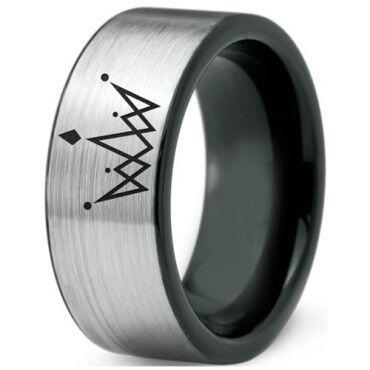 COI Tungsten Carbide King Crown Pipe Cut Flat Ring-4356