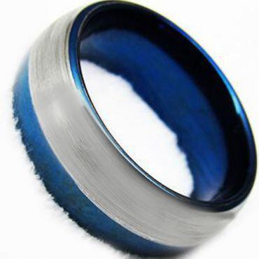 COI Blue Silver Tungsten Carbide Dome Court Ring-TG4360