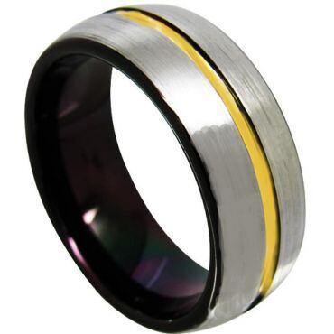 COI Tungsten Carbide Black Gold Tone Center Groove Ring-TG4366