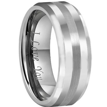 *COI Tungsten Carbide Center Line Beveled Edges Ring - TG4381