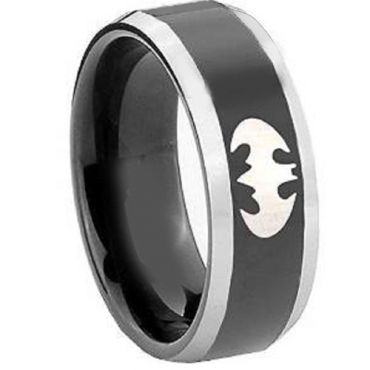 *COI Tungsten Carbide Batman Beveled Edges Ring-TG4411