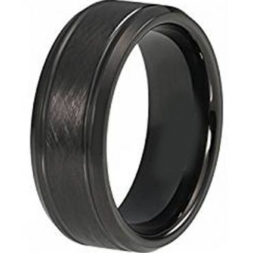 COI Black Tungsten Carbide Sandblasted Ring - TG4415