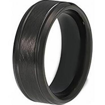 COI Black Tungsten Carbide Sandblasted Ring - TG4415