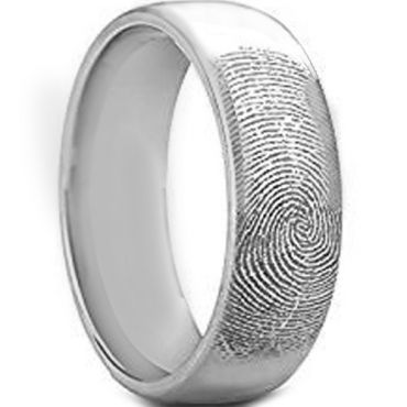 COI Tungsten Carbide Custom FingerPrint Dome Court Ring-TG4418
