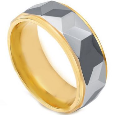 *COI Tungsten Carbide Gold Tone Silver Faceted Ring-TG4444