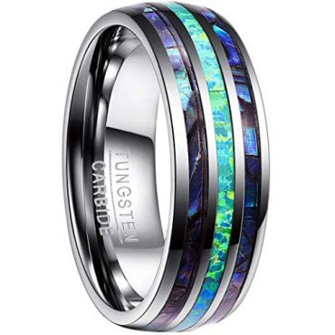 COI Tungsten Carbide Crushed Opal & Abalone Shell Dome Court Ring-4445