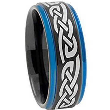 COI Tungsten Carbide Black Blue Celtic Step Edges Ring-TG4453