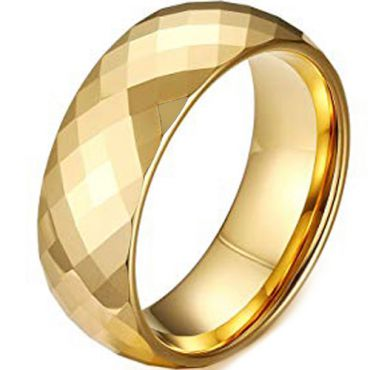 COI Gold Tone Tungsten Carbide Faceted Wedding Band Ring-TG4490