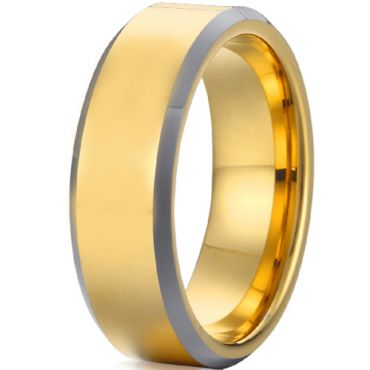COI Gold Tone Tungsten Carbide Beveled Edges Ring-TG4491