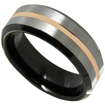 COI Tungsten Carbide Black Rose Center Groove Ring-TG4498