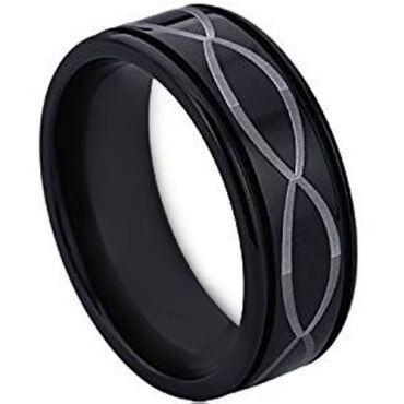 COI Black Tungsten Carbide Infinity Step Edges Ring - TG4534