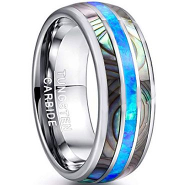 COI Tungsten Carbide Abalone Shell Dome Court Ring-TG4549