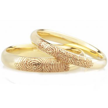 COI Gold Tone Tungsten Carbide Custom FingerPrint Ring - TG4559