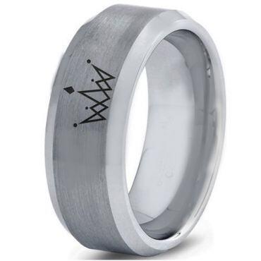 COI Tungsten Carbide King Crown Beveled Edges Ring-4560