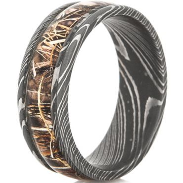 *COI Black Tungsten Carbide Damascus Ring With Camo - TG4565