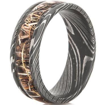 *COI Black Tungsten Carbide Damascus Ring With Camo - TG4565