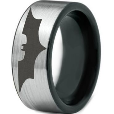 *COI Tungsten Carbide Batman Pipe Cut Flat Ring-TG4570