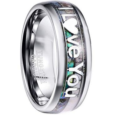 COI Tungsten Carbide Abalone Shell & Deer Antler Love You Ring-TG4578B