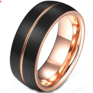 COI Tungsten Carbide Black Rose Center Groove Ring-TG4585