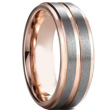 COI Tungsten Carbide Rose Silver Step Edges Ring-TG4597CC