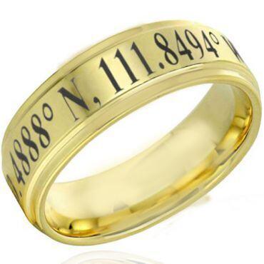 COI Gold Tone Tungsten Carbide Custom Coordinate Ring-TG4629DD