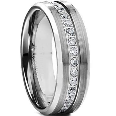 *COI Tungsten Carbide Cubic Zirconia Beveled Edges Ring-TG4664BB
