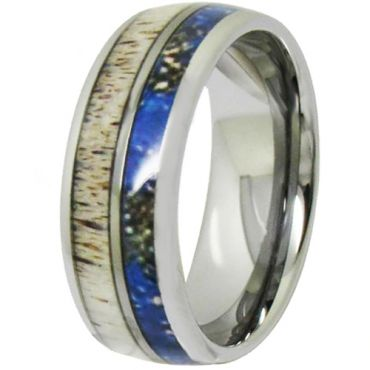 COI Tungsten Carbide Deer Antler & Blue Wood Dome Court Ring-TG4704