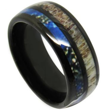COI Black Tungsten Carbide Deer Antler & Blue Wood Dome Court Ring - TG4709