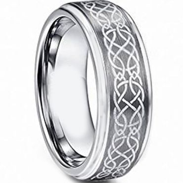 *COI Tungsten Carbide Celtic Step Edges Ring - TG4718