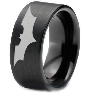 *COI Black Tungsten Carbide Batman Pipe Cut Flat Ring-TG4723