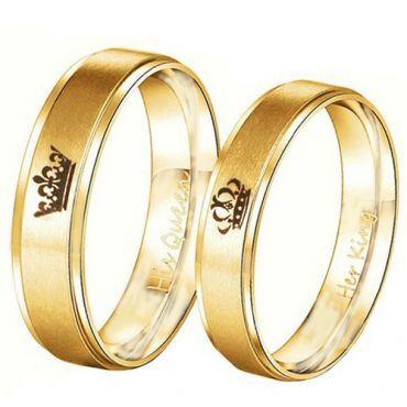 *COI Gold Tone Tungsten Carbide King Queen Crown Ring-TG4716