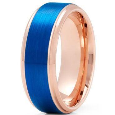 *COI Tungsten Carbide Rose Blue Step Edges Ring-TG5132