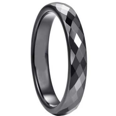 COI Black Tungsten Carbide Faceted Wedding Band Ring-5264