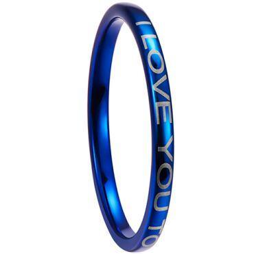 COI Blue Tungsten Carbide I Love You Dome Court Ring-5265