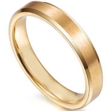 COI Gold Tone Tungsten Carbide Beveled Edges Ring-5266