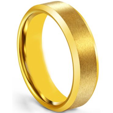 *COI Gold Tone Tungsten Carbide 4mm Beveled Edges Ring-5266