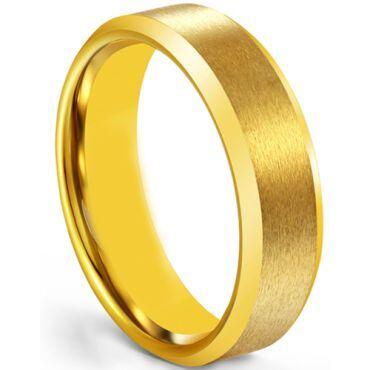 *COI Gold Tone Tungsten Carbide Beveled Edges Ring-5266