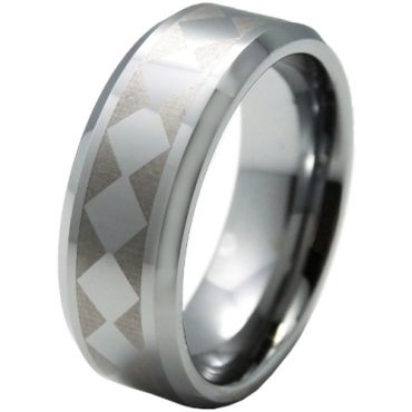 COI Tungsten Carbide Checkered Flag Beveled Edges Ring-5328