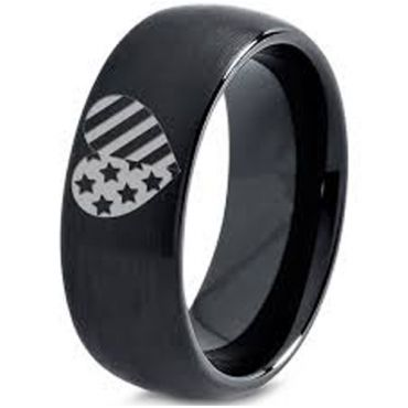 COI Black Tungsten Carbide America Heart Dome Court Ring-5334