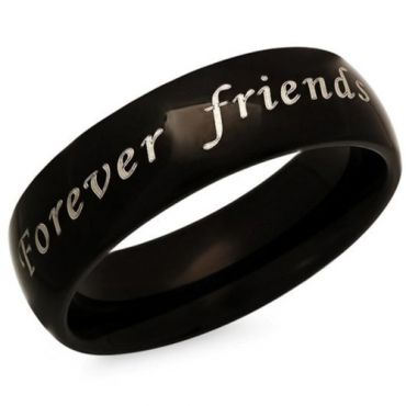 *COI Black Tungsten Carbide Forever Friendship Dome Court Ring-5339