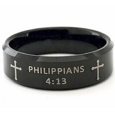 COI Black Tungsten Carbide Cross Ring With Custom Scripture-5418