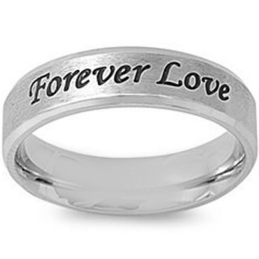 *COI Tungsten Carbide Forever Love Beveled Edges Ring-5419