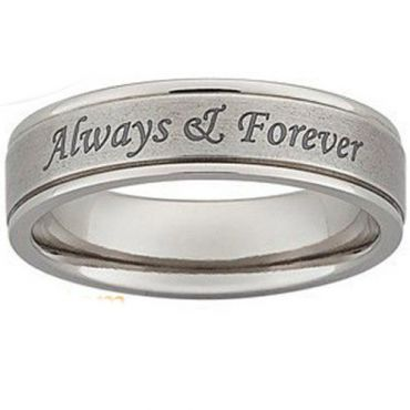 COI Tungsten Carbide Always & Forever Double Groove Ring-5421