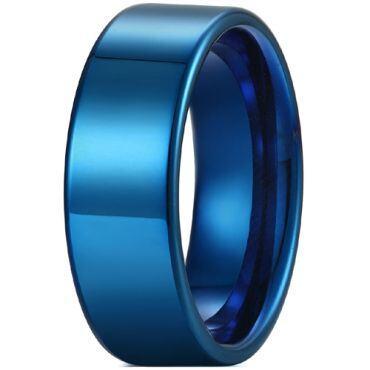 COI Blue Tungsten Carbide 12mm Pipe Cut Flat Ring-5429