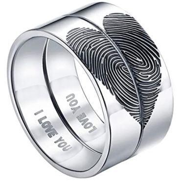 *COI Tungsten Carbide Custom Heart Fingerprint Pipe Cut Flat Ring-5431