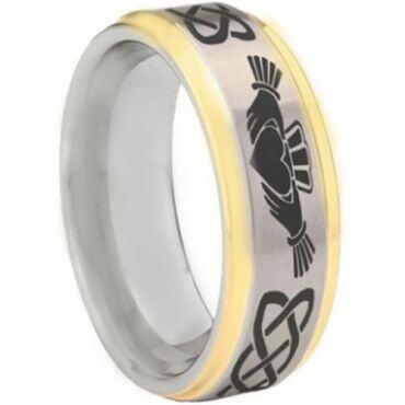 *COI Tungsten Carbide Gold Tone Silver Mo Anam Cara Celtic Step Edges Ring-5443