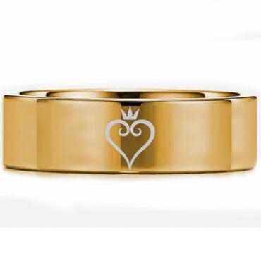 *COI Gold Tone Tungsten Carbide Kingdom Heart Pipe Cut Flat Ring-5451