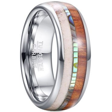 COI Tungsten Carbide Deer Antler Abalone Shell Wood Dome Court Ring-5461